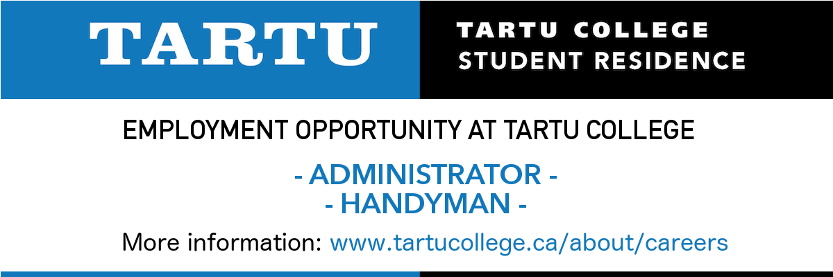 EMPLOYMENT OPPORTUNITY AT TARTU COLLEGE 2019