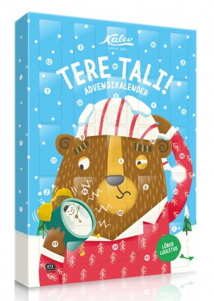 This year, 212 year-old Kalev kondiitri/tööstus/ettevõtte (confectionary company's) advendi/kalender, seen here, and in fact its entire Christmas collection for kids, uses funny word play. Photo: kalev.eu (2018)