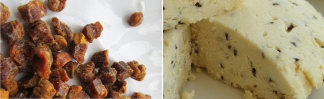 On the left is suir, a mass of pollen with added honey, packed into granules by worker bees to feed their young. Humans have also grown to appreciate the naturally fermented protein (valk) and vitamins found in bee pollen, also known as beebread. On the right is sõir, a homemade quark cheese (kohupiima/juust) that hails from Southern Estonia. It traditionally contains caraway seeds (köömned), but need not. Although you can purchase it at various markets all over Estonia, it's easy to make yourself. Suir photo by Riina Kindlam, sõir photo courtesy of Pille Petersoo, nami-nami.ee