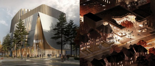 Composite of architectural renderings from AGNS (left) and IEC (right).