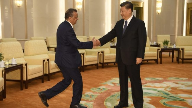 Tedros Adhanom (L), Director General of the World Health Organization, shakes hands with Chinese President Xi Jinping (R) prior to their meeting at the Great Hall of the People in Beijing on Jan. 28, 2020. Photo: CP/EPA/Naohiko Hatta