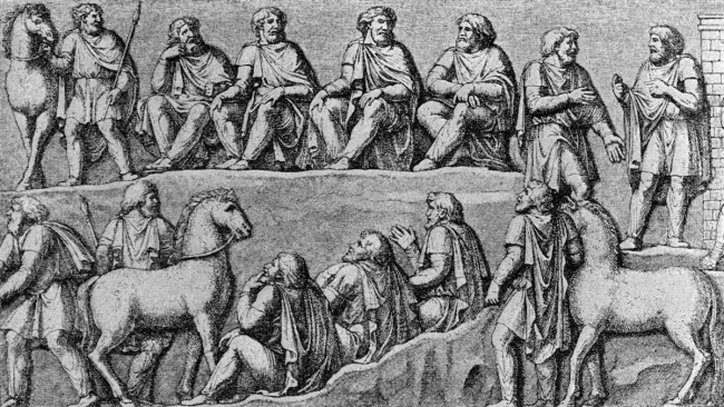 Germanic thing, drawn after the depiction in a relief of the Column of Marcus Aurelius (193 CE) - www.wikipedia.org