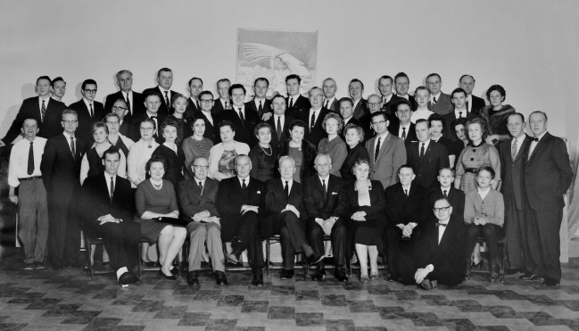 Supporters of Baltimore Estonian House in 1965 after initial remodeling. Peeter Saar, current Chair of BEH, is second to last row in white shirt on the right.