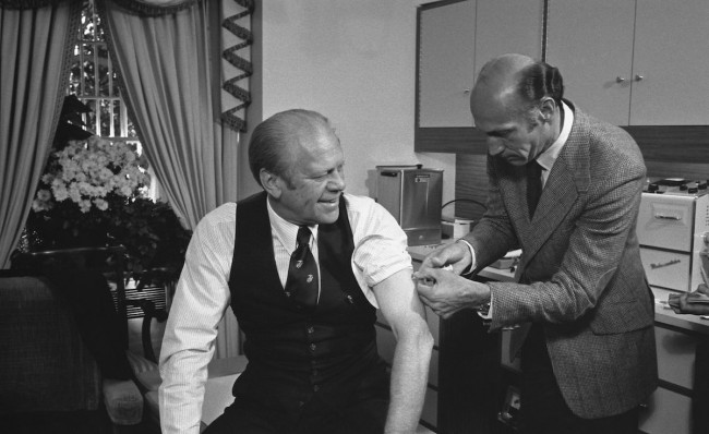 U.S. President Gerald Ford receiving his vaccine for the swine flu. - www.wikipedia.org