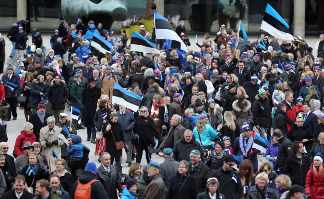 Estonian flags galore at the flag-raising ceremony at Nathan Phillips Square on February 24, 2018 in celebration of Estonia's 100th anni-versary. Photo by Richard Lautens (2018)