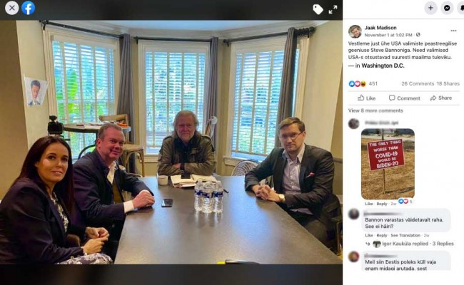 EKRE MEP Jaak Madison meeting with Steve Bannon on November 1, 2020