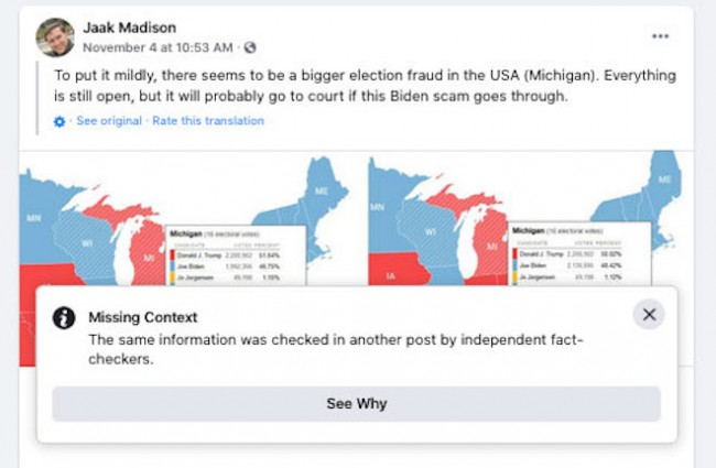Screenshot of claim made by EKRE MEP Jaak Madison that there was voter fraud in Michigan.