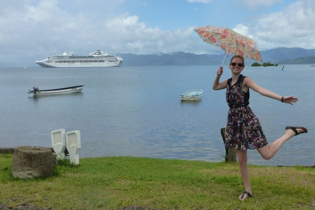 Not letting the rain spoil our day in Suvasuva, Fiji