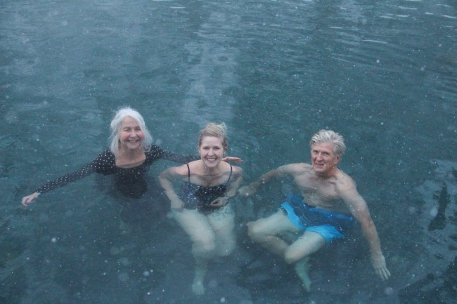 At the Liard Hot Springs, @ mile 475 on the Alaska Highway, (water temperature +52c, air temperature -25c),  Silvia, Laani, Toomas.