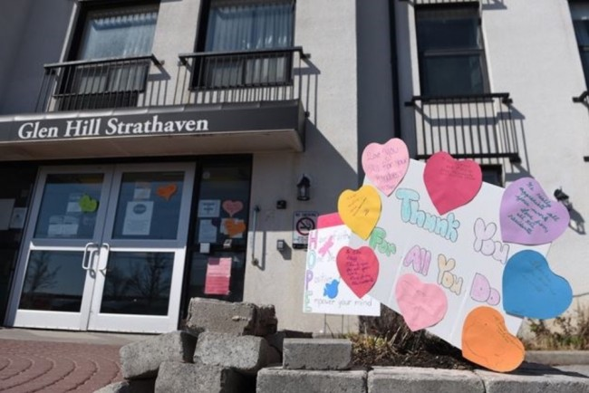 More than a dozen signs were placed outside the Glen Hill Strathaven retirement home in Bowmanville, thanking staff for their commitment to the residents during the COVID-19 pandemic. - Ryan Pfeiffer/Torstar