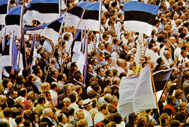 """Estonian flags galore at the Estonian World Festival """"Freedom for Estonia"""" demonstration on July 8, 1972 at Nathan Phillips Square. Archival photo"""