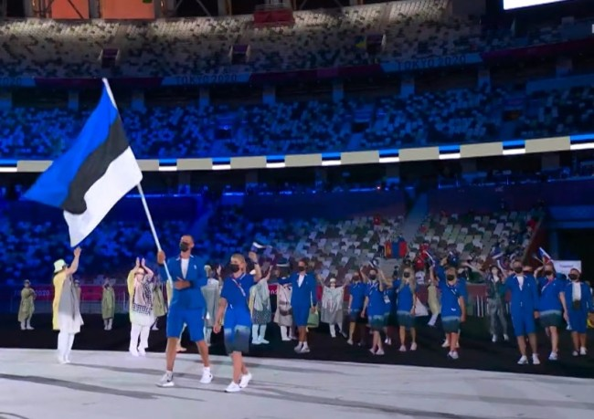 Image: Estonian athletes entering at the Tokyo Olympics 2020 opening ceremony, from reporter.ee