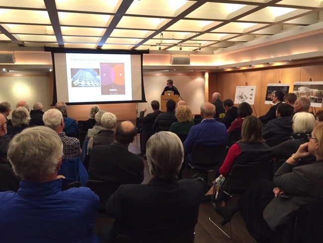 Architect Alar Kongats presents to a full house at the Annex Ratepayers community meeting on Oct. 30 at Tartu College.