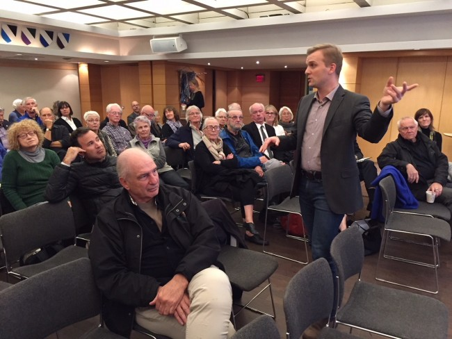 Councillor Joe Cressy speaks in favour of the Estonian Centre Project at the Annex Ratepayers meeting held at Tartu College on Oct. 30.