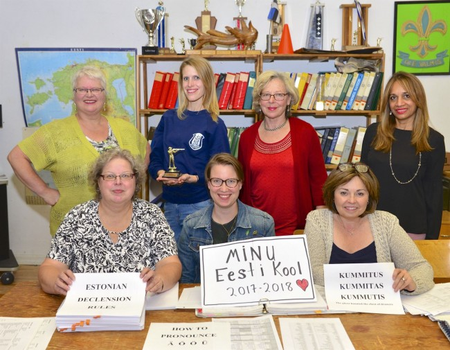 Last year's third year class. In front from left: Epp Aruja (teacher), Julia Rannala, Susan Kahro. Behind from left: Ann Aaviku, Erin Kittask, Rutt Kajak, Shandra Kuuskne. Missing are: Mari Vihuri, Bronwen Harding, Erika Harding.