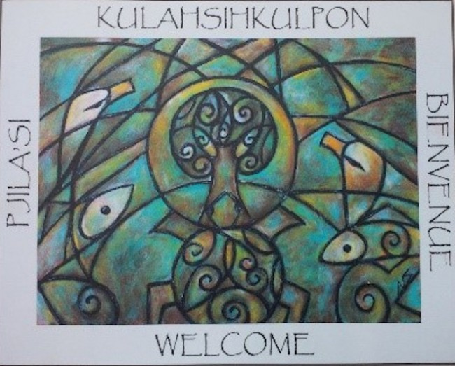 Welcome sign featuring artwork by Wolastoqiyik artist Samaqani Cocahq (Natalie Sappier)