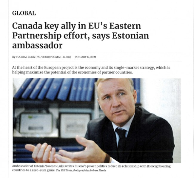 Ambassador of Estonia Toomas Lukk writes Russia's power politics reduce its relationship with its neighbouring countries to a zero-sum game. The Hill Times photograph by Andrew Meade