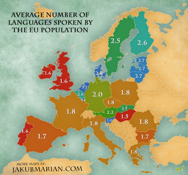 Map created by @jakub.marian , from https://jakubmarian.com/average-number-of-languages-spoken-by-the-eu-population