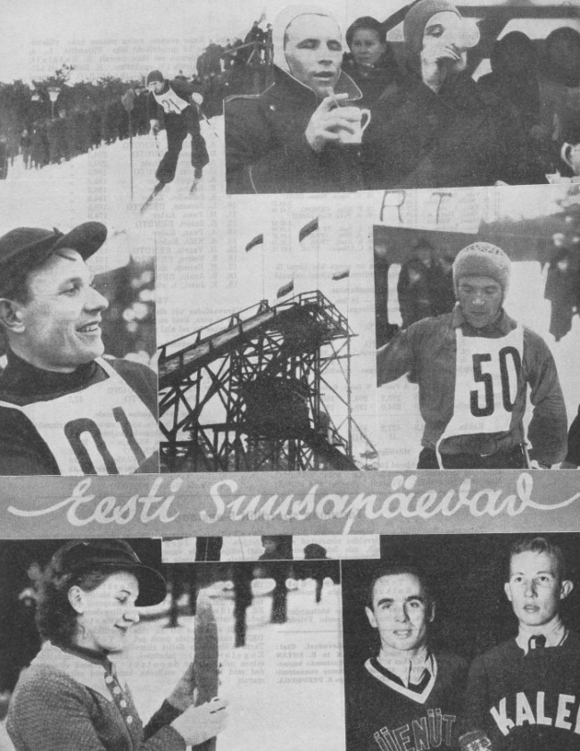 Photo collage from dea.digar.ee of Estonia's first ski jumping event in 1938 at Mustamäe Ski Jumping Hill, Tallinn