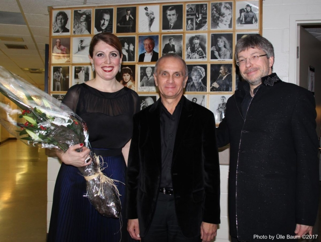 From the left: Krisztina Szabó, Hungarian-Canadian mezzo-soprano, Gary Kulesha, Canadian composer, and Olari Elts. Photo: Ülle Baum ©2017
